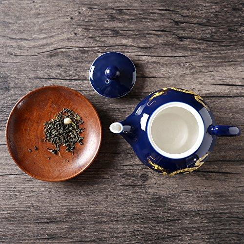 Gold Dragon Muster Keramik Teekanne, Jing Dezhen Kung Fu Teekanne Blau Kleine Teekanne,Geschenk Für Tee-Liebhaber Und Haushalt, Büro, Blau 180Ml