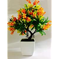 DecoratingLives Mini Artificial Plant in Pots, Green Faux Potted Plants for Home Decor with Cute Small Birds (Height :29 cm)