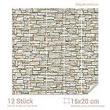Graz Design 768080_15x20_60 Fliesenaufkleber Stein - Mauer - Optik | mit Fliesenbildern die Fliesen-Wände überkleben (Fliesenmaß: 15x20cm (BxH)//Bild: 60x60cm (BxH))