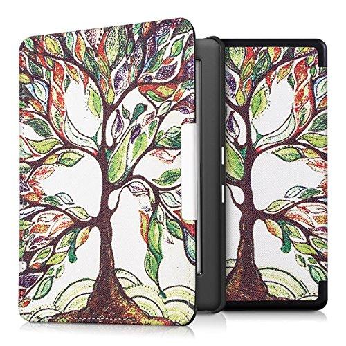 kwmobile Flip Hülle für > Kobo Glo HD / Touch 2.0 < mit bunter Baum Design - Aufklappbare Tasche Kunstleder in Mehrfarbig Grün Weiß