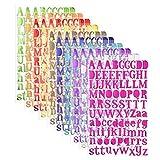 Sunmns coloré Paillettes Lettre Alphabet Autocollant Autocollant Lettres, 10Feuilles