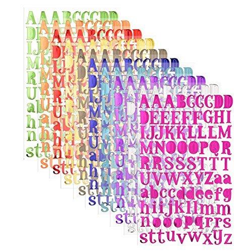 sunmns Colorful Glitter Buchstaben Alphabet Aufkleber, selbstklebend, Buchstaben, 10Blatt (Glitter Buchstaben Aufkleber)