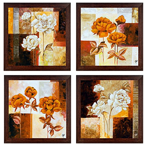 Ray Decor Wall Paintings Set of 4 With Textured Art Work -SQSET522- Home Decor/ Wall Hangings/ Art/ Interior Decoratives/ Gift
