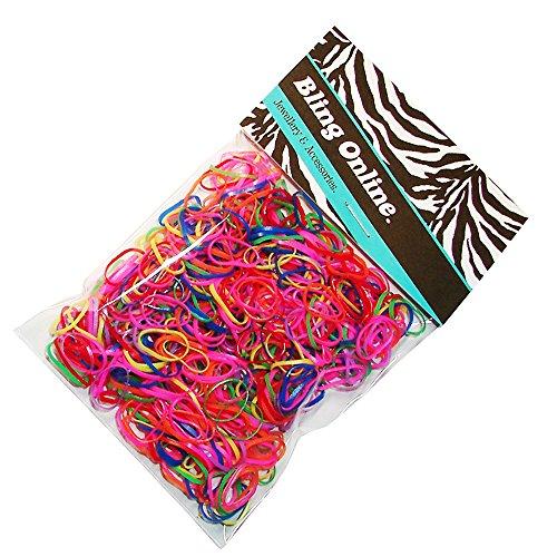 Bling Online Rosenblätter aus Haar Flechten elastisch Mini Kleine Gummi Bands Braid oder Plait (Brights).