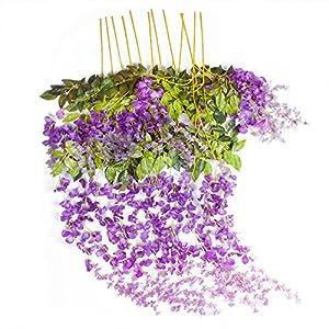 arreglos florales por internet: Romote 12 piezas 3,6 pies de seda artificial Wisteria Vine Ratta colgante flor p...