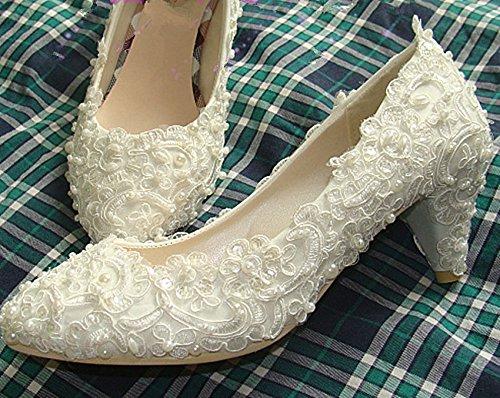 XINJING-S Wohnungen/4 cm / 7 cm Absatz Elfenbein/Weiß Perle lace Wedding shoes Bridal pumpen Größe 5-12 Elfenbein, 4.5 cm