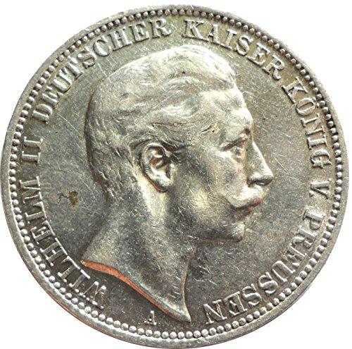 Silbermünze 3 Mark 1909 A - Silber Münze in ss - Kaiser Wilhelm II. Preussen - Original Münze Kaiserreich