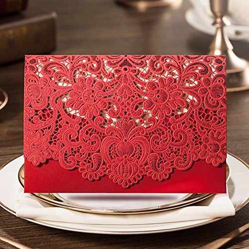 LAVINAYA 25 PCS Luxury Laser Cut Invitations Cards Kits Flora Invitation Cardstock Packs with Envelope and Adhesive Seals For Cocktail Festival Wedding Party (Red Card) (Card Party)