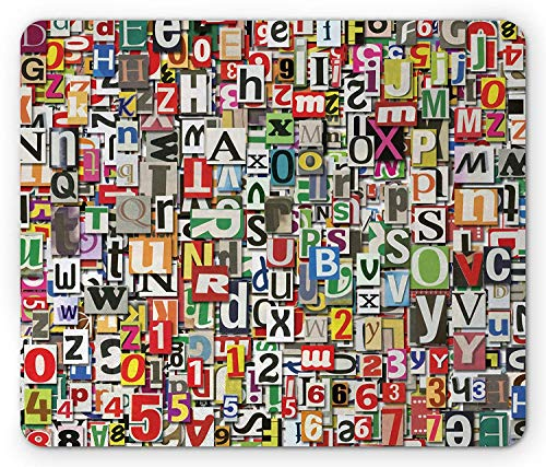 Abstract Mouse Pad, Collage of Newspaper Clippings Alphabets Cuttings Diversity Letters Digital Print, Standard Size Rectangle Non-Slip Rubber Mousepad, Multicolor -