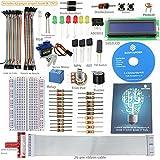 SunFounder Project LCD Starter Kit w/ GPIO Extension Board, 1602 LCD, Breadboard, Jumper wires, Servo Motor, Relay, Resistors, Buzzer for Raspberry Pi