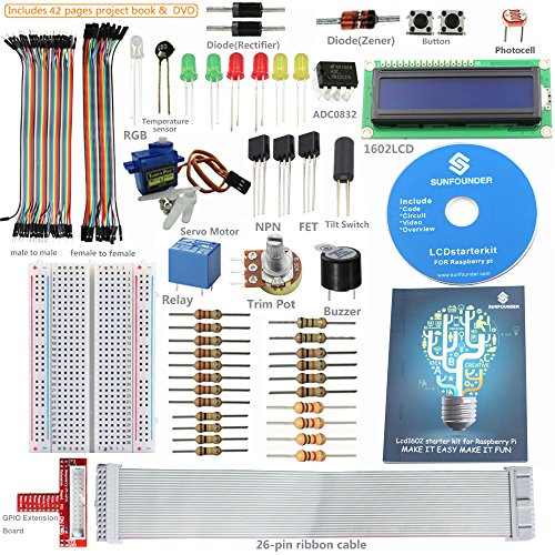 SunFounder Project LCD Starter Kit w/ GPIO Extension Board, 1602 LCD, Breadboard, Jumper wires, Servo Motor, Relay, Resistors, Buzzer for Raspberry Pi