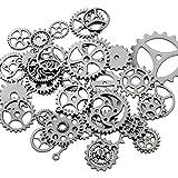 Westeng 100 Gramm Steampunk Zahnräder Retro Metall Uhren Maschinen Teile Schmuck Basteln DIY Zubehör - Gun-schwarz