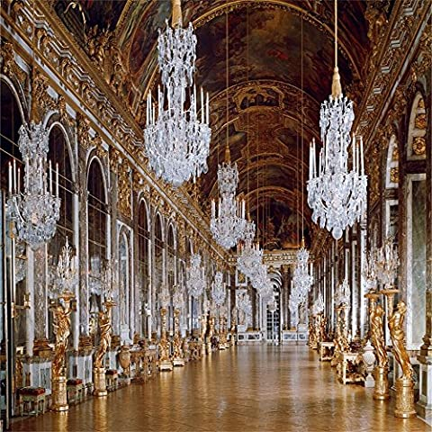 Aaloolaa Vinyle 1,5x 1,5m toiles de fond Photo Fond rétro européenne au palais de Versailles Miroir Gallery de luxe Chandelier Sculpture Chic plafond peint Mariage Props Studio d