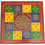 Santarms Handmade Colorful Wooden Puja Chowki