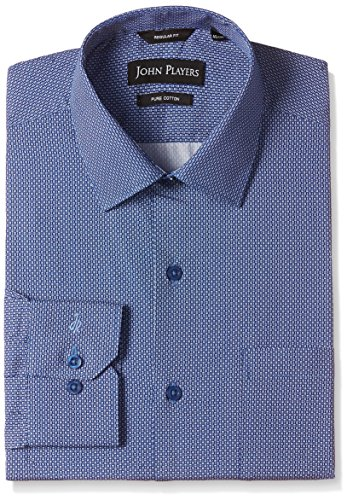 John Players Men's Formal Shirt (8902986936019_JFMWSHA160123006_46_Mood Indigo)