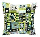 Kissenhülle Kissenbezug 'Roboter Grün Blau' 40 X 40 cm Kissen für Kinder Robots Jungen 100 % Baumwolle Zierkissenbezug Kinderkissen Spielkissen