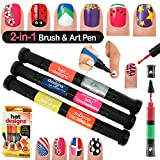 #10: Forever 2 in 1 Brush Cum Pen Hot Designs Nail Art Polish Pens With 6 Glitz & Glam Colors Kit