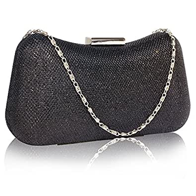 Glitter Clutch Bag Womens Evening Handbag Designer Party Wedding New With Chain New Look Black ...
