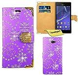 Sony Xperia M2 Hülle, FoneExpert® Bling Luxus Diamant Hülle Wallet Case Cover Hüllen Etui Ledertasche Premium Lederhülle Schutzhülle für Sony Xperia M2 + Displayschutzfolie (Lila)