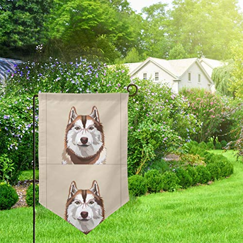 IconSymbol Garden Outdoor Flag Stand Banner Husky Red Dog with Cut Lines Dog Panel Dog Cut Sew Decorative Weather Resistant Double Stitched 18 x 12.5 Inch -