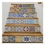 SERFGTFH Heimwerker Fliesen Aufkleber Traditionelle Treppe Aufkleber Abnehmbare Wasserdichte Wallpaper Home Decor