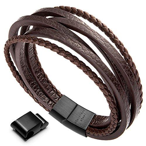 Murtoo Edelstahl Echtleder Armband schwarz|braun geflochten mit Magnet Verschluss(22cm) (BraunB)