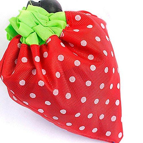 Cdet Cdet Bolsa de almacenamiento plegable Bolsas reutilizables y respetuosas del medio ambiente para las compras Tela no tejida en forma de fresa resistente 53X38CM