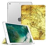 Fintie iPad 9.7 Zoll 2018/2017 Hülle - Ultradünn Superleicht Schutzhülle mit Transparenter Rückseite Abdeckung Cover Case mit Auto Schlaf/Wach Funktion für Apple iPad 9,7'' 2018/2017, Weltkarte Antik