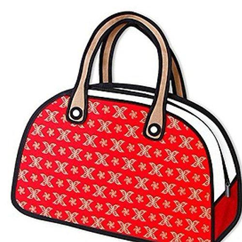 WYZ Fashion Cute Jump Style Karikatur komisch 3D 2D-Zeichnung Comic Cartoon Kamera Tasche Handtasche Schulter Bag (Red) (Cartoon-zeichnung Cute)