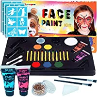 LISOPO Pintura Facial 30 Colores Kit de Pintura Maquillaje para Niños, Fiesta, Body Painting de Halloween