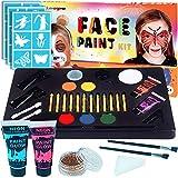 LISOPO Kinderschminke Set 30 Teile mit 30Paint Schablonen,Kinderschminken Schminkfarben Halloween Karneval Make-up Bodypainting