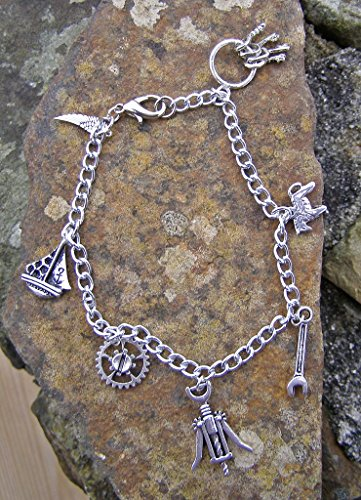 Silber Farbe Charme Armband, Korkenzieher, Yacht, Pony und mehr 20,3cm (Kostüm Charme Armbänder)