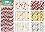 96-tlg. Set Papierstrohhalme Strohhalme MIX - Weihnachten - gold/silber/rot/weiß 20 cm