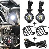 SUPAREE LED-Nebelscheinwerfer 40W 3000LM 6000K + Schutzgitter + Kabelbaum für Motorrad BMW R1200GS F800GS F650 LC ADV KTM 1190 1190R 1290