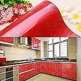 Yazi Autocollant Stickers Papier peint Contact papier meubles de cuisine Porte de placard Pivoine Rouge 61 x 250cm
