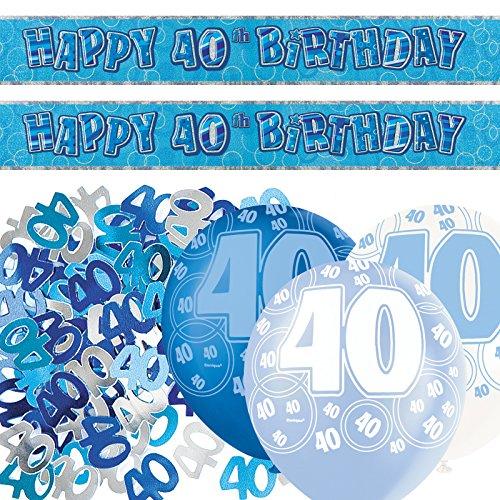 Unique BPWFA-4151 Banner zum 40. Geburtstag, glitzernd, Deko-Set, blau (Weiß Schwarz Birthday 40th Party Dekorationen Und)