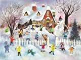 ACG47-00794 New Children Snowball Fight German Advent Glitter Paper Calendar