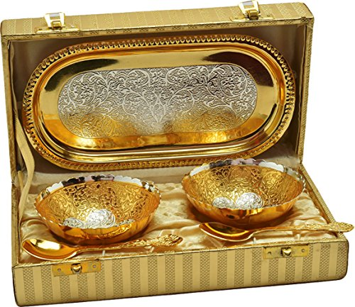 Jaipur Ace Gold and Silver Plated Brass Bowl Set | Premium Quality Gold Plated Brass Bowl | Best for Birthday, Anniversary, Diwali, Return Girt.