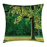 tgyew Tree of Life Throw Pillow Cushion Cover, Fresh Young Leaves of Oak Branches in The Park Tranquil Nature Landscape, Decorative Square Accent Pillow Case, 18 X 18 inches, Green Brown