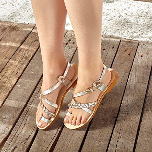SCHMICK Sandale 'Selene' pour femmes chaussures d'été en cuir véritable aspect métallique Or - Doré