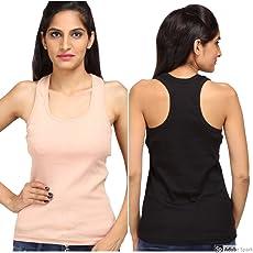 ALBATROZ Cotton T Back Ladies Plain Spaghetti Tank Top Vest Camisole Sando for Women Combo of 2 Black and Skin (Free Size)