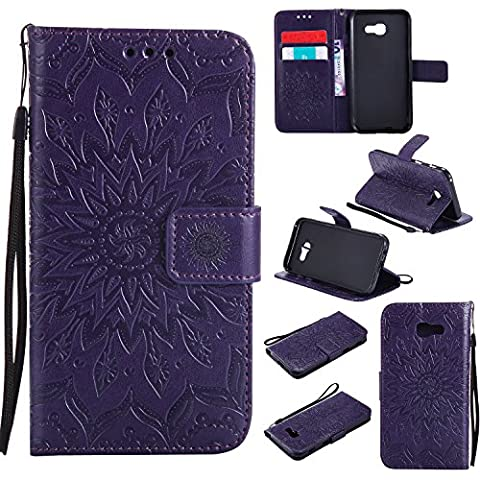 Samsung Galaxy A5 2017 Case Leather, Ecoway Sun flower embossed pattern PU Leather Stand Function Protective Cases Covers with Card Slot Holder Wallet Book Design Detachable Hand Strap for Samsung Galaxy A5 2017 - purple