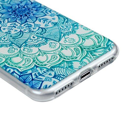 iPhone 7 Custodia Morbido Silicone TPU Gel Ultra Slim Trasparente 4.7 - MAXFE.CO Case Cover [Shock-Absorption Bumper][Ultra Sottile Liscio] - Totem Fiore Verde fiore totem