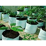 LARGE & BEST POLY GROW BAGS / UV Treated / 100% Virgin Polyethyene Material – Thick / Durable / Portable and Last Longer / Perfect for Terrace / Balcony / Any Small Space / Professional Looking White Outside / Black Inside - 20 bags