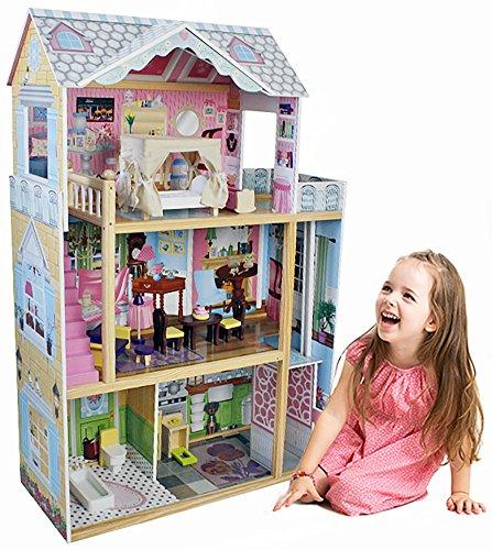 The Cuddle - Puppenhaus aus Holz mit Möbeln, 3 Etagen, XXL, 116cm hoch, Aufzug, Puppenstube, auch passend für Barbie Puppen (Große Puppenstube Für Mädchen)