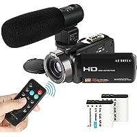 Caméscope, ACTITOP Caméscope FHD 1080p, Zoom numérique 24MP 16x avec Microphone Externe et télécommande