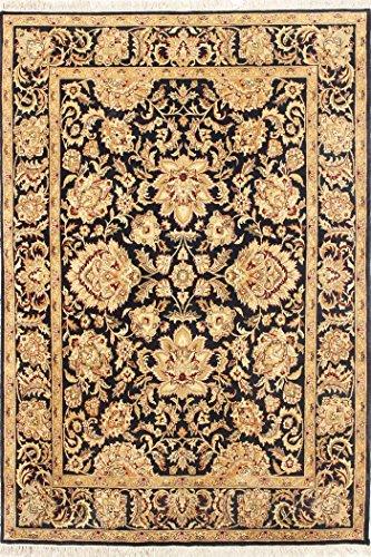 Arts of India indisch Blumen Design Schwarz Wolle Handgefertigt Handgeknüpft Jaipur/Orientalisch 8X10 Bereich Teppich - 8x10 Bereich Teppich