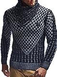 LEIF NELSON Herren Pullover Strickpullover Hoodie Sweatshirt Pulli Langarm Schalkragen LN5255; Größe M, Schwarz-Ecru