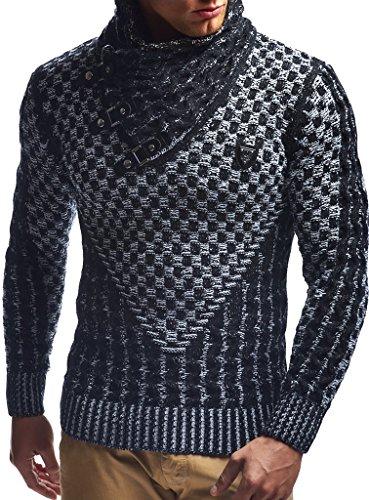 LEIF NELSON pour des Hommes Pullover Pull en Tricot Hoodie Sweatshirt arrêtez-Vous Manche Longue col chle LN5255; Taille L, Noir-Ecru LEIF NELSON