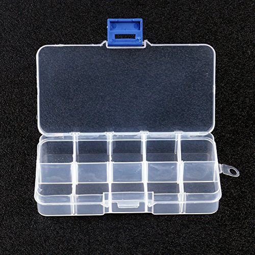 Ordnungsbox von Warehouseshop WSS, 3 Boxen mit 10 Fächern, weiß-transparent, für Tabletten, Nähzubehör, Perlen, Nägel (6-fach-perlen-organizer)